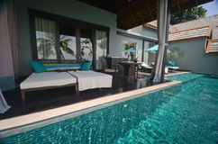 Infinite pool villa resort Royalty Free Stock Images