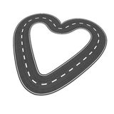 Infinite road in heart shape. Infinite loop of road shaping a heart, symbolizing love of travel Royalty Free Stock Photo