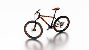 Infinite Rotation with a White Background around Black and Orange Mountain bike. Without any brand stock illustration