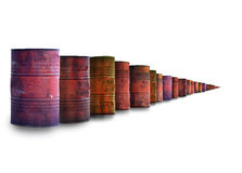 Infinite row of oil barrels Stock Photos