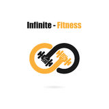 Infinite sign and dumbbell icon.Infinit,Fitness and gym logo.Healthcare,sport,medical and science symbol.Healthy lifestyle vector. Logo template.Vector vector illustration