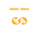 Infinite sign and dumbbell icon.Infinit,Fitness and gym logo. Stock Photography