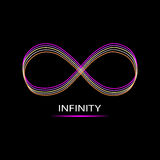Infinite sign. Isolated on black background. Vector illustration Stock Images