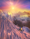 Infinite space alpine. Peaks fascinates the traveler and calls him into the mountains again and again Stock Photos