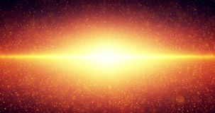 Infinite space looped background. Moving glowing stars with illusion of depth and perspective. Abstract fiery sun shine. Futuristic universe on dark orange stock video footage