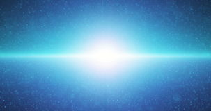 Infinite space looped background. Moving glowing stars with illusion of depth and perspective. Abstract fiery sun shine. Futuristic universe on dark blue stock video footage