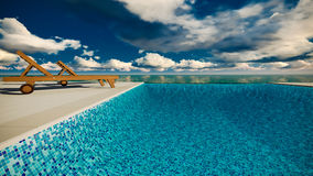 Infinite swimming pool with ocean Stock Photos