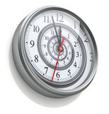 Infinite time spiral in the wall clock Royalty Free Stock Photos