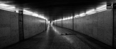 Infinite transition to nowhere. Portugal. In Lisbon under the ground. Underground. Black and white royalty free stock photos
