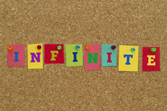 Infinite word written on colorful sticky notes. Stock Images