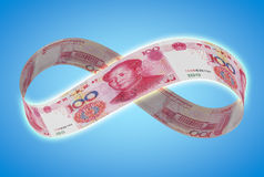 Infinite yuan. Concept of infinite sign shaped by chinese yuan note Stock Photo