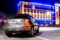 Infiniti FX35. NOVYY URENGOY, RUSSIA - OCTOBER 15, 2016: Grey motor car Infiniti FX35 in the city street Royalty Free Stock Photography