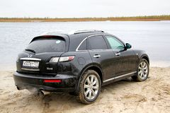 Infiniti FX45. Novyy Urengoy, Russia - September 14, 2014: Motor car Infiniti FX45 at the countryside Royalty Free Stock Images