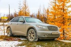 Infiniti FX35. NOVYY URENGOY, RUSSIA - SEPTEMBER 30, 2017: Motor car Infiniti FX35 at the countryside Stock Photography