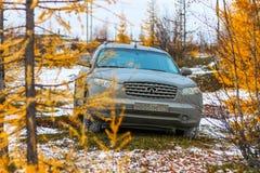 Infiniti FX35. NOVYY URENGOY, RUSSIA - SEPTEMBER 30, 2017: Motor car Infiniti FX35 at the countryside Stock Images