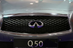 Infiniti metallic logo closeup on the Infiniti  car. Displayed at 3rd edition of MOTO SHOW in Cracow Poland. Exhibitors present  most interesting aspects of the Stock Image