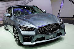 Infiniti Q50 on CDMS 2013. An Infiniti Q50 at the booth of Nissan on CDMS 2013.Chengdu Motor Show(CDMS) 2013,one of the four top auto shows in China,was held at Royalty Free Stock Photos