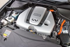 Infiniti Q70L Hybrid Engine Stock Image