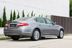 Infiniti Q70L Long Wheel Base Sedan. Back View. Royalty Free Stock Images