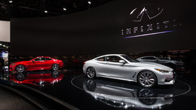 2016 Infiniti Q60 and Q60S. DETROIT, MI/USA - JANUARY 12, 2016: Infiniti Q60 and Q60S GLOBAL DEBUT cars at the North American International Auto Show (NAIAS) Stock Photo
