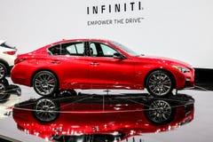 Infiniti Q50 S bij Internationale Auto van New York wordt getoond toont 201 die Royalty-vrije Stock Foto