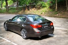 Infiniti Q50S hybrid sedan test drive Royalty Free Stock Photo