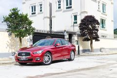 Infiniti Q50 2.0t Test Drive on May 13 2014 in Hong Kong. Stock Photo