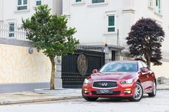 Infiniti Q50 2.0t Test Drive on May 13 2014 in Hong Kong. Royalty Free Stock Image