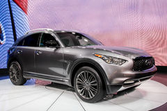 A Infiniti QX70 exhibit at the 2016 New York International Auto. NEW YORK - March 23: A Infiniti QX70 exhibit at the 2016 New York International Auto Show during Stock Image