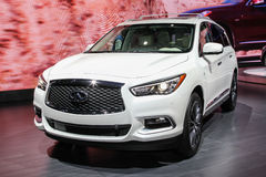 A Infiniti QX60 exhibit at the 2016 New York International Auto. NEW YORK - March 23: A Infiniti QX60 exhibit at the 2016 New York International Auto Show during Royalty Free Stock Photos