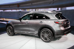 A Infiniti QX70 exhibit at the 2016 New York International Auto. NEW YORK - March 23: A Infiniti QX70 exhibit at the 2016 New York International Auto Show during Stock Photo