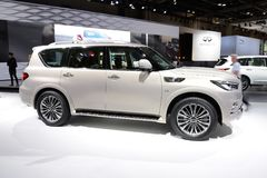 The Infiniti QX 80 SUV is on Dubai Motor Show 2017 Royalty Free Stock Images