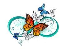 Infinito con le farfalle arancio del monarca e di Morpho della farfalla Immagine Stock