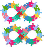 Infinity 8 shape puzzle pieces isolated shadow Stock Photography