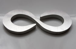 Infinity. Symbol machined out of aluminum on industrial CNC waterjet against grey background