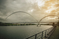 Infinity Bridge on dark sky with cloud at Stockton-on-Tees, UK. Vintage tone Royalty Free Stock Images