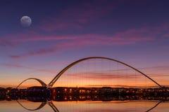 Infinity Bridge. The Infinity Bridge at Dusk in Stockton-on-Tees, England Stock Photos