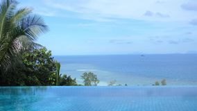 Infinity edge of swimming pool with beautiful sea view. slow motion. Hd stock video
