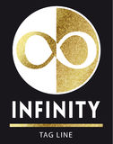Infinity logo in golden. Infinity logo in bright gold Royalty Free Stock Photos