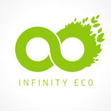 Infinity logotype with leaves. Green graphics infinite vector template brand sign concept. Environmental company in a shape of colored infinit endless branding stock illustration