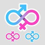 Infinity love, gender symbols Royalty Free Stock Image