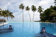 Infinity pool. The Infinity pool, Meeru, Maldives, Indian Ocean Royalty Free Stock Images
