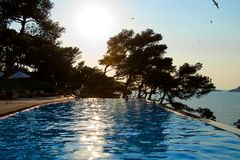 Infinity pool - evening. Hotel Infinity Pool with evening view of sea and gulls overhead Stock Photos