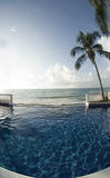 Infinity pool with float caribbean sea Royalty Free Stock Photography