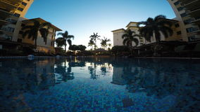Infinity pool in luxury resort. A wide angle view from an infinity pool at a luxury resort in Hawaii stock video
