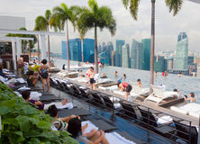 Infinity pool, Marina bay Hotel, Singapore Stock Photos