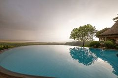 Infinity pool overlooking Lake Manyara Tanzania royalty free stock photo