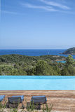 Infinity pool and sea in corsica Stock Photos