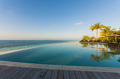 Infinity pool with sea views and palm trees Royalty Free Stock Images