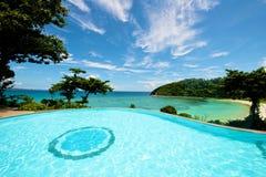 Infinity pool vacation on Boracay resort Stock Photos